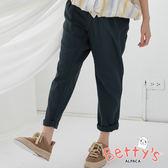 betty's貝蒂思 復古簡約鬆緊褲(深綠)