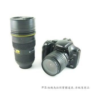 【零國界-小物】潮人kuso必備II 1:1 24-70mm L仿真單眼鏡頭杯(不銹鋼內膽)-小黑