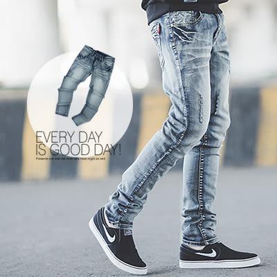 牛仔褲 洗舊立體刷色小抓破小直筒牛仔褲【N9787J】