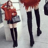 過膝長靴女高筒靴瘦腿彈力靴高跟粗跟長筒靴子女