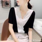 雪紡襯衫短袖女裝2020年春裝新款潮很仙的上衣服超仙時尚洋氣春夏 漾美眉韓衣