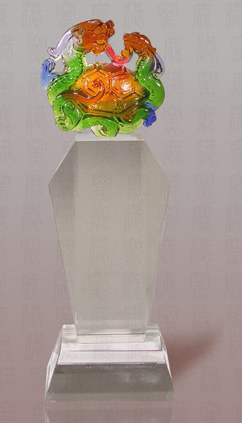 鹿港窯~居家開運M高水晶獎牌~五靈-玄武◆附精美包裝◆附古法制作珍藏保證卡◆免運費送到家