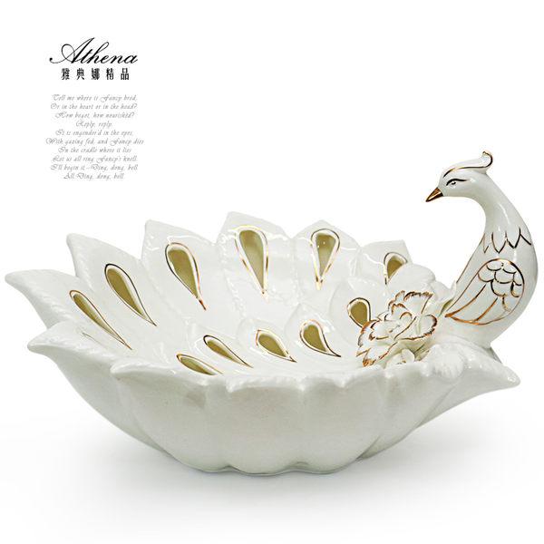 【雅典娜家飾】立體孔雀雕花鏤空陶瓷盤飾-GQ22