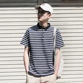 夏季條紋POLO衫男潮牌寬鬆潮男短袖T恤翻領情侶裝日系體恤保羅衫 創意家居