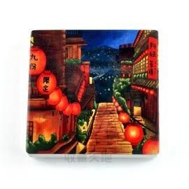 【收藏天地】台灣紀念品*陶瓷杯墊冰箱貼-九份夜景