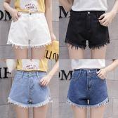 韓版牛仔短褲女不規則高腰毛邊百搭學生學院風闊腿褲