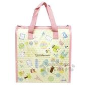 〔小禮堂〕角落生物 方型不織布保冷手提袋《粉黃.滿版》便當袋.野餐袋 4973307-42888
