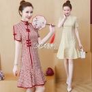 旗袍 旗袍輕款加肥加大寬鬆胖妹妹改良格子紅色中國風連身裙子潮