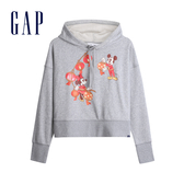 Gap 女裝 Gap x Disney 迪士尼系列米奇米妮休閒連帽上衣 555433-淺石楠灰
