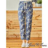 【Tiara Tiara】百貨同步  繁花朵朵鬆緊腰綁帶直筒長褲(藍)