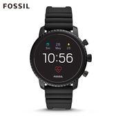 FOSSIL EXPLORIST HR 黑色橡膠第四代智慧手錶 男 FTW4018