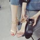 新品複古夏天高跟鞋中粗跟一字帶涼鞋女學生百搭女露趾女鞋