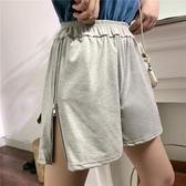 運動短褲 超火cec褲子女夏寬鬆高腰直筒顯瘦潮ins百搭休閒闊腿拉鏈運動短褲 麗人印象 免運