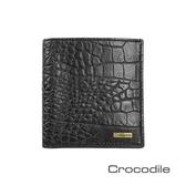 Crocodile Croco義大利植物鞣製皮 鱷魚壓紋直式短夾 0103-5006