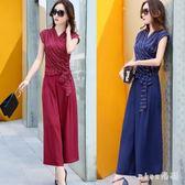 女裝潮短袖雪紡衫 闊腿褲裙時尚套裝韓版OL兩件套連衣裙 GB6125『miss洛羽』