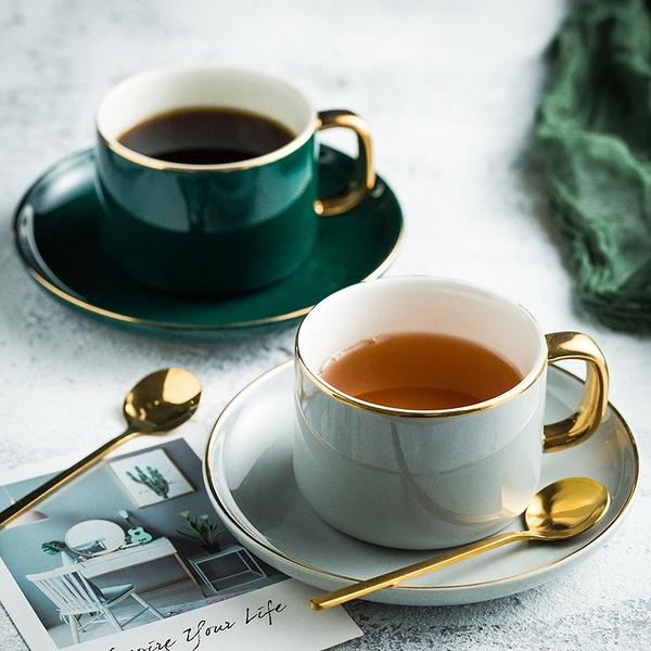 咖啡杯 歐式小奢華金邊咖啡杯 家用陶瓷杯碟套裝 下午茶杯碟勺水杯花茶杯【快速出貨八折搶購】