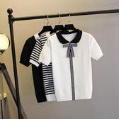 新品甜美娃娃領條紋蝴蝶結翻領針織衫 短袖學院風針織T恤女上衣春  凱斯盾數位3C