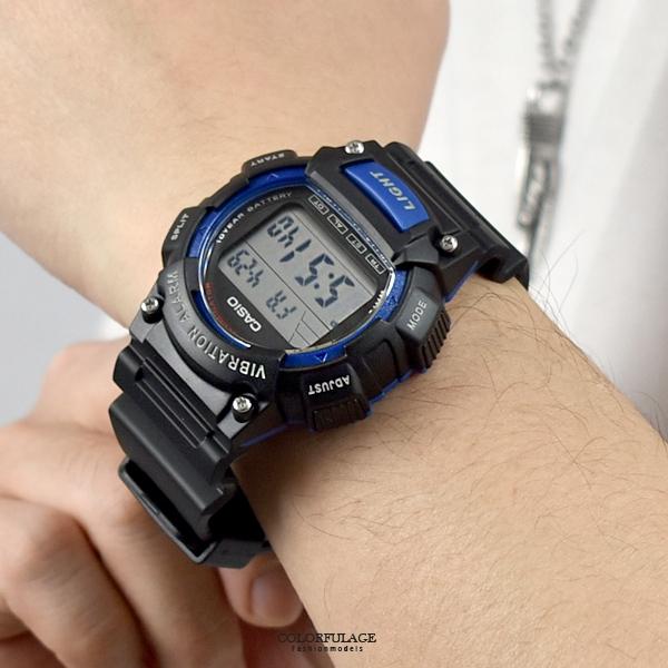 CASIO手錶 黑藍運動多功能電子錶NECD25