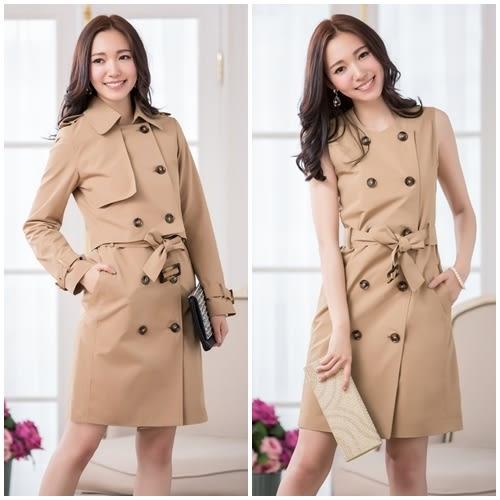 中大尺碼*兩件套英倫風排扣綁帶風衣外套洋裝(短外套+洋裝)~美之札