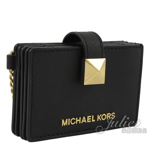 茱麗葉精品【全新現貨】MICHAEL KORS KARLA 鑰匙扣鍊風琴式卡片盒.黑