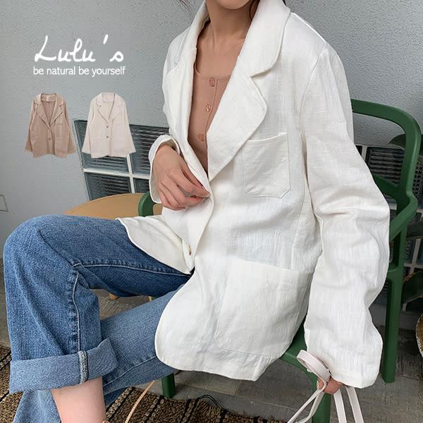 LULUS-E雙口袋棉麻西裝外套-2色  【03190007】