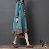 棉麻襯衫裙女 2020寬鬆大尺碼文藝減齡中長款拼色連身裙‧復古‧衣閣