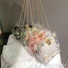 果凍包夏天透明包包新款潮時尚單肩斜背包女百搭ins花朵鍊條果凍包【凱斯盾】