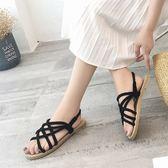 夏季涼鞋女百搭草編平底鞋一字式扣帶涼拖鞋女鞋兩穿