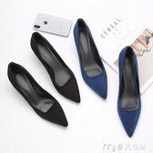 高跟鞋 細跟燙黑色高跟鞋女職業新款春季細跟法式少女中低跟尖頭單鞋女鞋麥吉良品