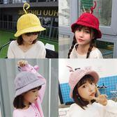 新款帽子女秋天冬季韓版可愛時尚百搭盆帽天線燈芯絨保暖漁夫帽子 歐歐流行館