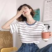 短袖2021新款女裝夏季條紋t恤韓版學生百搭寬鬆短款修身休閒上衣 幸福第一站