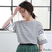 ❖ Summer ❖ 蕾絲花朵袖條紋圓領上衣 - Green Parks