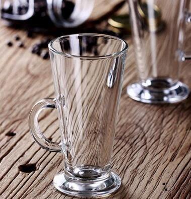 進口pasabahce無鉛玻璃拿鐵咖啡杯鋼化牛奶杯帶把奶昔杯果汁杯子