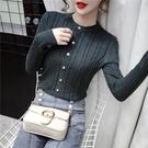 長袖針織衫~套頭小香風珍珠扣針織衫毛衣打底女上衣DC03C日韓屋