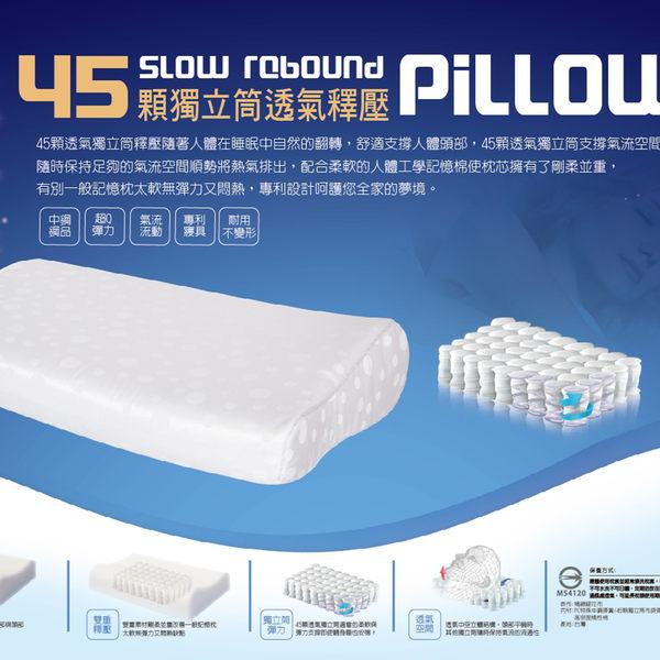 記憶棉-獨立筒枕 58cmX36cm台灣製 【45顆獨立筒、透氣舒壓】