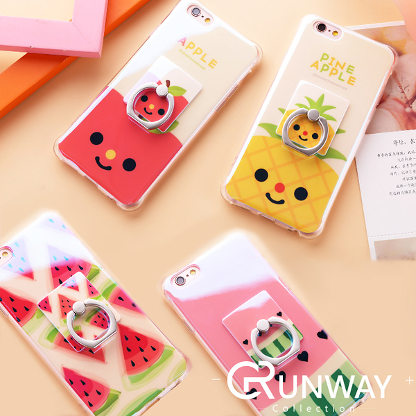 【R】夏日水果 可愛 鳳梨蘋果 藍光 同款 指環支架 套裝 手機殼 蘋果 iPhone 6 4.7 5.5 軟殼