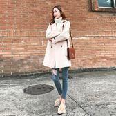 大衣女中長款秋冬新款小個子毛呢外套寬鬆顯瘦加厚呢子大衣 韓慕精品