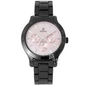 【台南 時代鐘錶 SIGMA】簡約時尚 藍寶石鏡面三眼日期腕錶 1842B-04 黑/粉色 36mm 平價實惠的好選擇