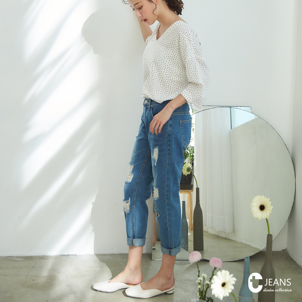 CANTWO JEANS隨興鬆緊腰頭男友丹寧褲-牛仔藍