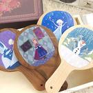 【Disney 】時尚質感原木/木頭手拿鏡-Q版冰雪