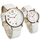 KEVIN 情人對錶 數字時刻簡約時尚腕錶 防水手錶 皮革錶帶 白色x玫瑰金 KV3068白大+KV3068白小