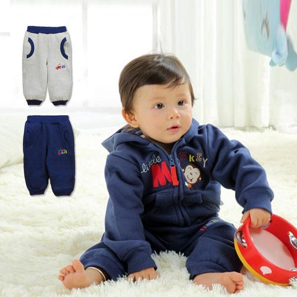 長褲 褲子 休閒褲 Catasy 刷毛 男童 寶寶 深藍 暖灰