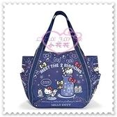 ♥小花花日本精品♥ Hello Kitty 帆布托特包深藍牛奶瓶夜空蝴蝶結手提包肩背包外出包外出袋42157809