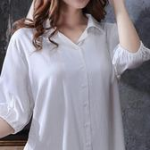 睡裙女春夏秋季韓版短袖白襯衫寬松純棉性感睡衣冰絲綢襯衣可外穿 LI2455『伊人雅舍』