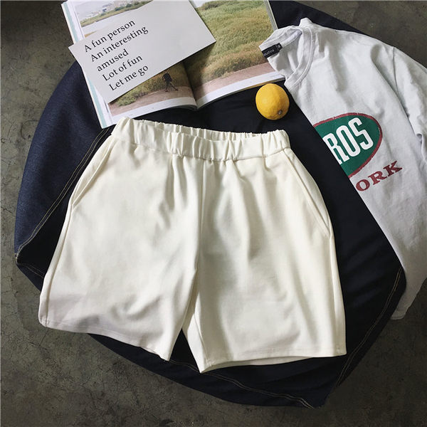找到自己 MD 韓國 休閒 時尚 男 簡約 舒適 簡單拼接 鬆緊腰 休閒短褲 運動短褲 熱褲