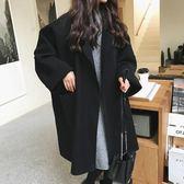 毛呢大衣廓形毛呢外套女春秋薄款韓版中長款大碼繭型呢子大衣「輕時光」