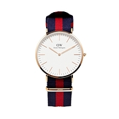 【Daniel Wellington】CLASSIC瑞典時尚品牌經典簡約尼龍腕錶-藍紅x玫金-40mm/DW00100001/原廠公司貨兩年保固