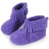 美國正品~MINNETONKA ~紫色後貼式麂皮莫卡辛嬰兒短靴 在台24H 寄出