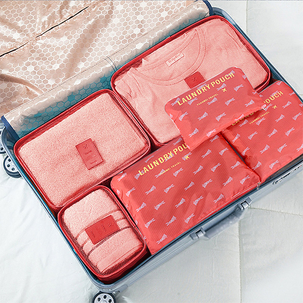 旅行收納 韓版圖案旅行六件套 多款 防水尼龍布 行李箱 出國 旅遊  收納袋【CTP055】123ok