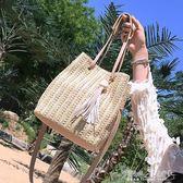 草編包包 草编包草包编织包沙滩包包森女时尚斜背手提 傾城小鋪